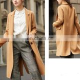 OEM 2017Winter Latest Cardigan Woolen Cloth Back Vent Casual Wear Woolen Coat For Women