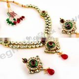 Green-Maroon Real Kundan Necklace set - Wholesale Real Kundan Bridal Jewelry - Indian Ethnic Kundan Jewelry