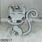 Hot selling Lovely white zinc alloy animal cat designed pendant charms