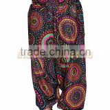Indian Women Cotton Printed Black Color Harem Pants Causal Trouser Yoga Dance Baggy Hippie Genie Casual Pants 2009BLK