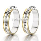 Pair Silver and Gold Huggie Hinged Hoop Earrings with Cubic Zirconia for Women and Girls Stainless Steel