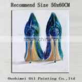Professional Artist Handmade High Quality Impression High-Heeled Shoes Oil Painting On Canvas Modern Lady Shoes Oil Painting