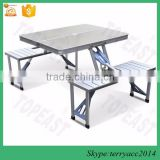 Collapsible Folding High Impact Aluminum Camping Picnic Table with Comfortable Chairs Built-in