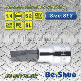 "Hot sell 1/4""Dr. S2 material SL3 Slotted Bit Socket Hand tool Screwdriver wrench bit"