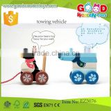 Learning Education Wooden Block Pull Toys Blocks- Building Block Towing Vehicle