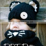 New Design cat Ear Winter Windproof Baby Hats And Scarf Set For Kids Boys Girls Shapka Caps For Child FH-168