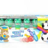 Plastic sport toys frog bowling ball with fashion light kids bowling set toy