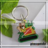 Wholesales 2014 Eco-friendly Debossed OEM Logo Soft Rubber Badminton Keychain For Promotional Gift