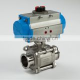 Peumatic type three-piece ball valve screwed and with direct mounting pad