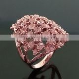 Pink Lush Flower Crystal Statement Ring Delicate Floral Handmade Filigree Ring Engagement Jewelry