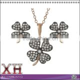 Rose Gold Plated Flower Zircon Silver Jewelry Set Black Rhodium