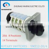 Rotary switch YMZ12-20/4 changeover cam combination switch 4 poles 8 positions 14 terminals 20A Ui 690V sliver point contacts