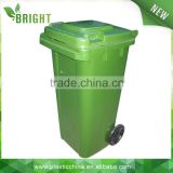 120 liter HDPE industrial plastic outdoor recycling dustbin, mobile hdpe outdoor plastic rubbish bin with wheels