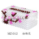 beaded tissue box cover-plum blossom