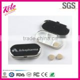 Promotion one day metal oval pill box with mirror