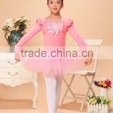 girls long sleeve ballet leotard with skirt,ballet dress with lace on,girls dancewear