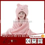 Bear design softtextile hooded coral fleece blanket for baby                                                                         Quality Choice