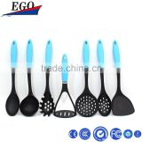 utensil for kitchen cookware Set 7pcs black Nylon kitchen tools and uses with blue handles