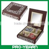 Small Wooden Mirrored Jewelry Gift Box with Compartments and Exquisite Pattern on Flip Lid Top for Cosmetic and Jewelry Storage