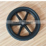 16x1.75 inch semi pneumatic rubber wheel with diamond tread and black plastic rim for mowers or material handling equipment