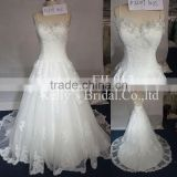 French lace and handmade flower on the neckline and beadings on the straps xinyuyuan wedding dress