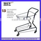 powder coat two basket shopping cart /two layer metal cart /wire basket shopping cart HSX-S485