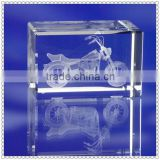 3D Laser Engraving Motorcycle Crystal Cube For Travel Gifts