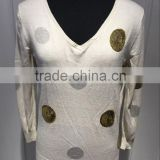 BGAX16093 Silk Cotton T Shirt , Computer Intarsia Knitted V Neck Pullover With Sequin Beading