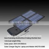 PVC laminated Portable&Folding 20W Solar Power Charger Kit for Laptop and Mobile Phones