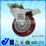 JY-503|Furniture caster type 125mm furniture caster wheel|Purplish red swivel caster with brake
