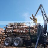 forest equipment tractor use hydraulic log trailer wood trailer timber loading trailer log wagon with crane grapple