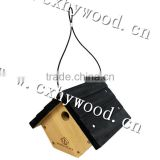 Handmade wood bird house outdoor trodictional simple wooden bird nest with customized logo