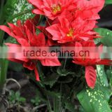"Poinsettia Christmas flower ""stem"" polyester flower"