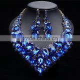 Fashion big crystal water drop gems necklace jewelry sets