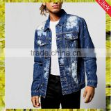 New fashion custom paint splatter ripped jean jacket men bulk wholesale printed denim jacket