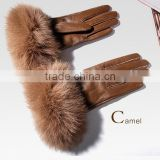 Cold Winter Womens Warm Gloves High Quality Warm Leather gloves genuine Fox Fur Cuff/Warm Christmas Gift