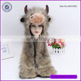 Faux Fur Cute Cow Animal Face hooded Animal Hats With Gloves