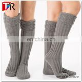 fashion floor socks with cable knit turnover ,knitted leg warmers women
