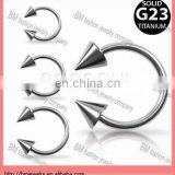 Grade 23 Solid Titanium Horse shoes with Spikes Body Piercing Jewelry