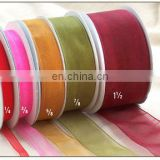 2015 Factory High Quality Wholesale Polyester Ribbon birthday gift packing sheer organza ribbon