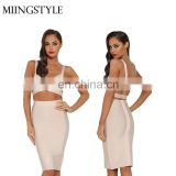 2016 new sexy party bodycon bandage top and skirt suit , club cocktaul dress evening party fashion dress for woman