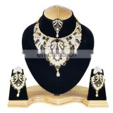 Touch Stone Gold Plated Black Color Alloy Wedding Collection Necklace Earrings Set & Tikka