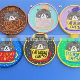 Round shape cartoon cat logo soft pvc rubber cup coaster with groove