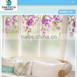 frosted tempered glass with wintersweet flower for interior window bathroom door or partition wall decor
