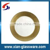 High quality promotional wholesale colored glass plates with gold rim for dinner/fruit/salad