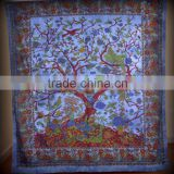 Indian Tapestry Cotton Tree of Life Print Blue Vintage Wall Hanging Tapestries Throw Mandala Print Bedsheet