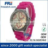 eco-friendly colorful silicone lady watch with diamond rotation diamond watch with metal case