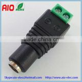 Easy wire 5.5*2.1/2.5mm DC female jack connector with screw terminals for CCTV cameras and led