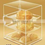 custom acrylic bakery/bread display case/cabinet with 3 pieces inner trays