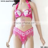 peach bra and belt sets with white beads design (XF-004)
